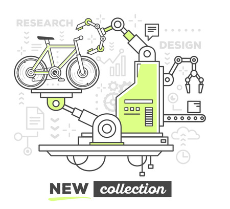 produce: Vector illustration of creative professional mechanism to produce a new bicycle with text on white background. Draw flat thin line art style monochrome design with green color for web, site, advertising, banner, poster, print