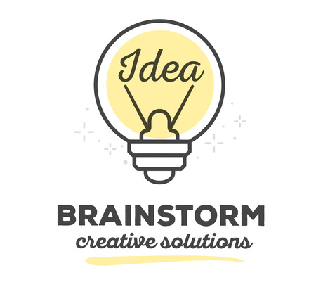 thin bulb: Vector illustration of creative light bulb with text on white background. Creative solutions concept. Hand draw flat thin black line art style monochrome design of light bulb yellow color for idea and brainstorm theme