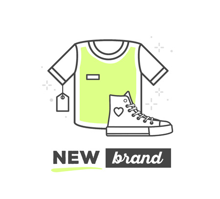 brand new: Vector illustration of sport things with text on white background. New sport brand concept. Hand draw flat thin black line art style monochrome design of sport things for branding and shopping theme