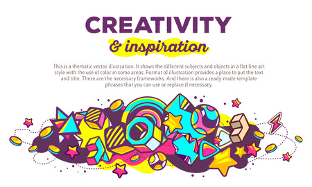 composition art: Vector illustration of colorful abstract composition with header and text on white background. Creativity and inspiration concept template. Line art design for web, site, banner, poster, board, card, paper print, t-shirt.