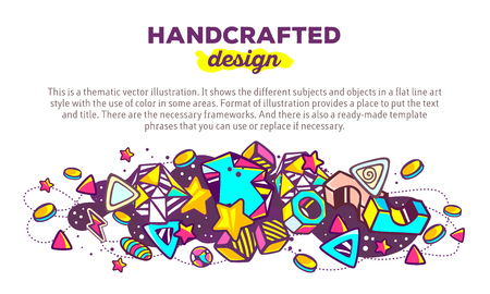 handcrafted: Vector illustration of colorful abstract composition with header and text on white background. Handcrafted design concept template. Line art futuristic artwork. Design for web, site, banner, poster, board, card, leaflet, Illustration