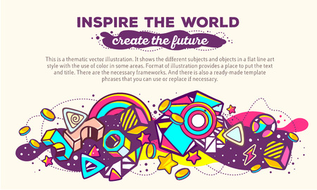 composition art: Vector illustration of colorful abstract composition with header and text on light background. Inspire the world. Create the future concept template. Line art futuristic artwork. Design for web, site, banner, poster, board, card, leaflet, Illustration