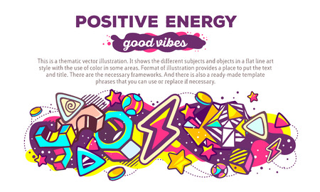 vibes: Vector illustration of colorful abstract composition with header and text on white background. Good vibes. Positive energy concept template. Line art design for web, site, banner, poster, board, card, paper print, t-shirt. Illustration
