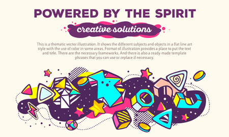 powered: Vector illustration of colorful abstract composition with header and text on light background. Powered by the spirit. Creative solutions concept template. Line art design for web, site, banner, poster, board, card, paper print, t-shirt.