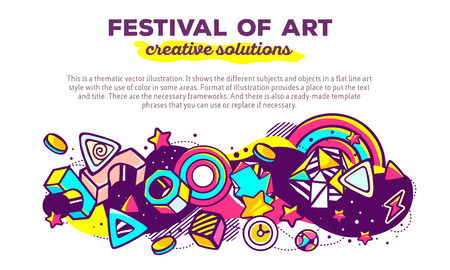 composition art: Vector illustration of colorful abstract composition with header and text on white background. Festival of art. Creative solutions concept template. Line art design for web, site, banner, poster, board, card, paper print, t-shirt. Illustration
