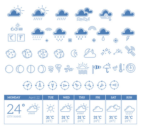 windy day: Vector illustration of blue weather theme big icon set with week template on white background. Weather widget. Thin line art flat weather design for web, site, widget, forecast interface and mobile application