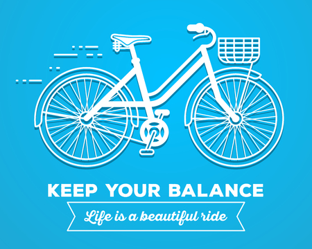 balance life: Vector illustration of white color moving fast bicycle with basket and text keep your balance, life is a beautiful ride on blue background. Bike adventure concept. Thin line art flat design of female bicycle, riding on the bicycle and cycling theme