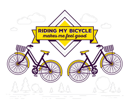 feel good: Vector illustration of retro bicycle with basket and text riding my bicycle makes me feel good on white outdoor background. Bike emblem concept. Thin line art flat design of vintage bicycle, riding on the bicycle and cycling theme Illustration