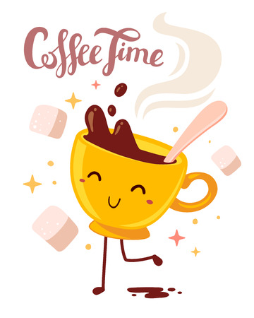 Vector illustration of yellow smile girl character dancing cup of coffee with steam and sugar isolated on white background. Coffee time concept. Hand drawn colorful art design for poster, card, shop, cafe, menu.