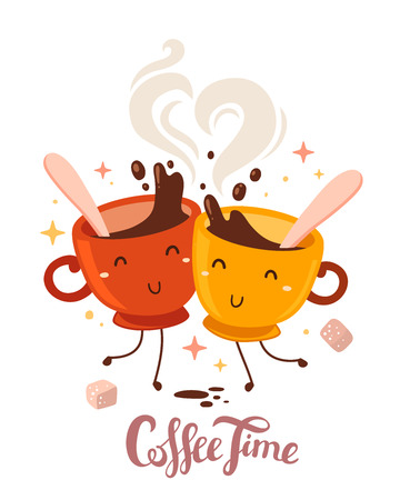Vector illustration of yellow and red smile friend girl characters dancing cups of coffee with steam and sugar isolated on white background. Coffee time concept. Hand drawn colorful art design for poster, card, shop, cafe, menu.