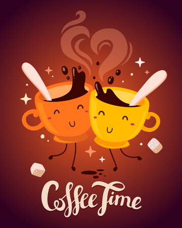 Vector illustration of yellow and red smile friend girl characters dancing cups of coffee with steam and sugar on brown background. Coffee time concept. Hand drawn colorful art design for poster, card, shop, cafe, menu.