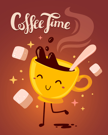 brown sugar: Vector illustration of yellow smile girl character dancing cup of coffee with steam and sugar on gradient brown background. Coffee time concept. Hand drawn colorful art design for poster, card, shop, cafe, menu.