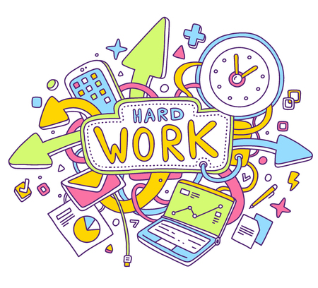 overtime: Vector colorful illustration of office objects with text on white background. Hard work concept. Thin line art flat design of laptop, clock, phone, documents for rush and overtime work theme