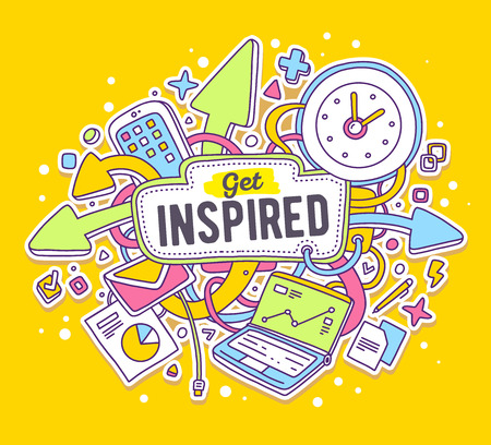 inspired: Vector colorful illustration of office objects with text on yellow background. Get inspired concept. Thin line art flat design of laptop, clock, phone, documents for motivational and inspirational theme