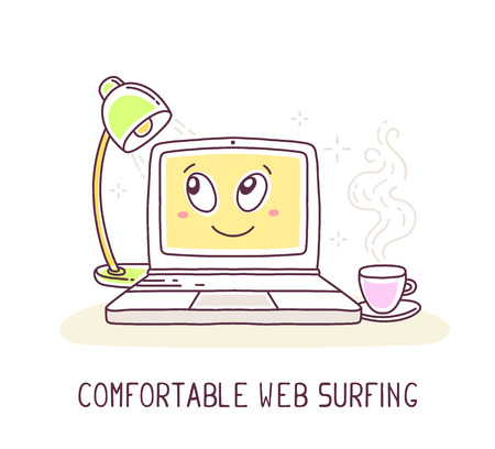 web surfing: Vector illustration of yellow color laptop with lamp and cup of coffee and text on white background. Web surfing concept. Thin line art flat design of laptop for web surfing, relax, evening home work theme Illustration