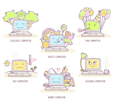 web surfing: Vector illustration of set of laptop with text on white background. Ecology, greetings, break time, education, web surfing concept. Thin line art flat design of laptop for ecological, energy saving, education, greetings, break time theme