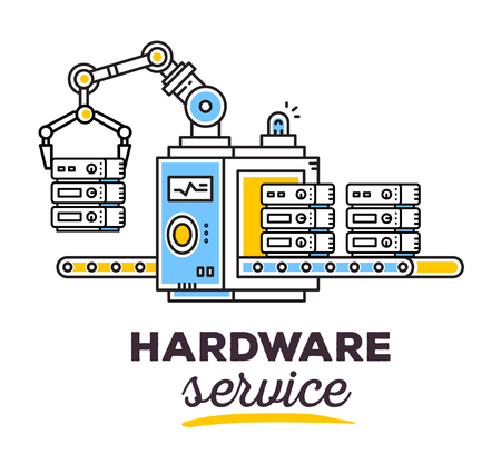 produce: Vector illustration of creative professional mechanism with conveyor to produce a new server with text on light background. Draw flat thin line art style monochrome design for hardware service theme Illustration
