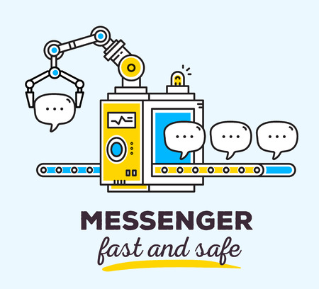 messenger: Vector illustration of creative professional mechanism with conveyor to produce a new message with text on light background. Draw flat thin line art style monochrome design for mobile messenger theme