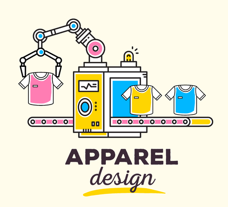 produce: Vector illustration of creative professional mechanism with conveyor to produce a new clothes with text on light background. Draw flat thin line art style monochrome design for apparel design theme