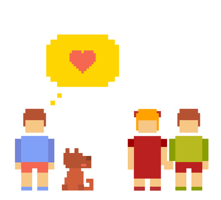 Vector colorful illustration of small girl, boy, dog happy friends on white background.  Children walk with the dog outdoor and talk concept. Retro flat 8-bit pixel art design of friendship theme.