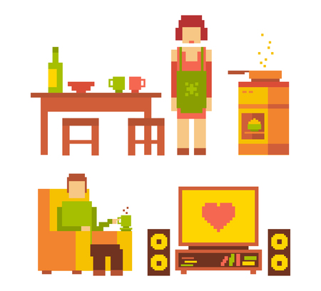 comfort food: Vector colorful illustration of woman and man happy family couple in the interior on white background. Typical people family life together concept. Retro 8-bit flat pixel art design of modern family life theme.