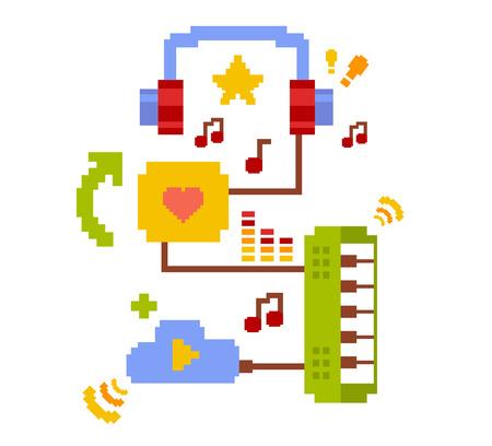 白い背景の音楽オンライン クラウド サービスのベクトル カラフルなイラスト。最高級の音楽は、利用可能なオンラインのコンセプトを記録します。クラウド サービスのテーマを使用して音楽を聴くことのレトロなフラット 8 ビットのピクセル アート デザイン