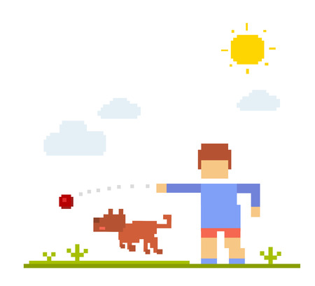 grown with love: Vector colorful illustration of boy with dog. Happy friends on white background. Child walk and play the ball with the dog outdoor concept. Retro flat 8-bit pixel art design of friendship with a dog theme.