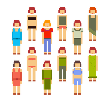 Vector colorful illustration of collection of women. Young girls in different clothes isolated on white background. Retro 8-bit pixel art design set of women for sport, business, casual, holiday theme.