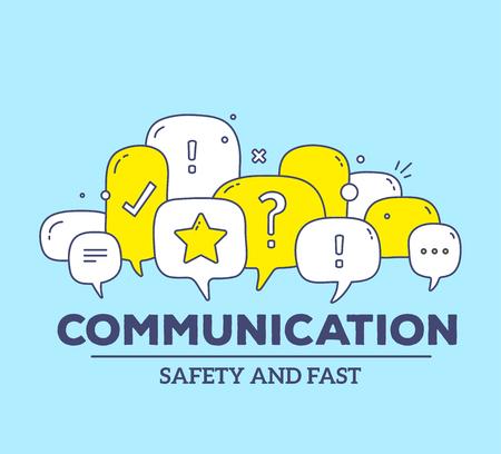 Ilustración vectorial de color amarillo y blanco burbujas de diálogo de diálogo con los iconos y la comunicación de texto sobre fondo azul. Concepto de tecnología de seguridad y comunicación rápida. Línea fina arte diseño plano de la tecnología de la comunicación tema
