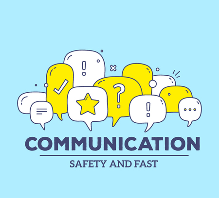 Vector illustration of yellow and white color dialog speech bubbles with icons and text communication on blue background. Safety and fast communication technology concept. Thin line art flat design of communication technology theme Vectores
