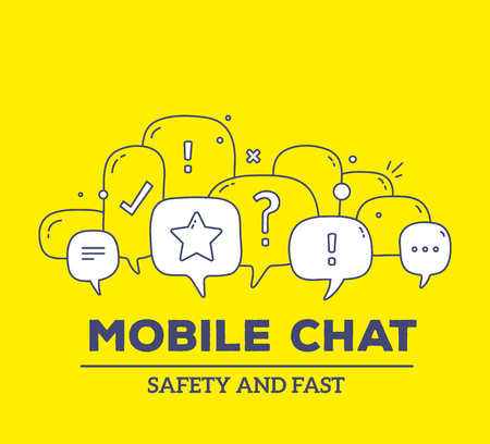 Vector illustration of white color dialog speech bubbles with icons and text mobile chat on yellow background. Safety and fast communication technology concept. Thin line art flat design of mobile chatting technology theme