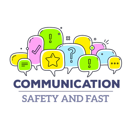 Vector illustration of colorful dialog speech bubbles with icons and text communication on white background. Safety and fast communication technology concept. Thin line art flat design of communication technology theme