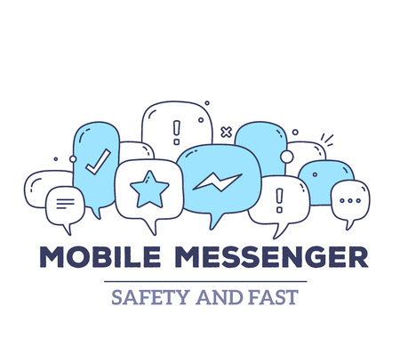 messenger: Vector illustration of blue color dialog speech bubbles with icons and text mobile messenger on white background. Safety and fast mobile messenger concept. Thin line art flat design of communication technology theme