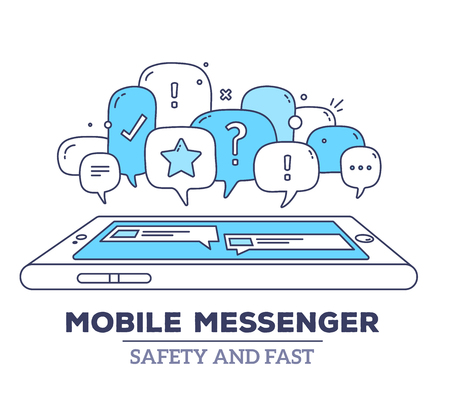 messenger: Vector illustration of blue color dialog speech bubbles with icons, phone and text mobile messenger on white background. Safety and fast mobile messenger concept. Thin line art flat design of communication technology theme Illustration