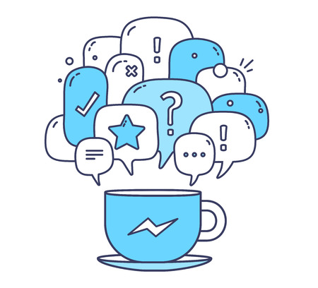 messenger: Vector illustration of blue color dialog speech bubbles with icons and cup of coffee on white background. Communication technology concept. Thin line art flat design of mobile chatting and messenger theme Illustration