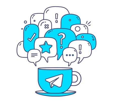 Vector illustratie van blauwe dialoogvenster kleur tekstballonnen met pictogrammen en een kopje koffie op een witte achtergrond. Communicatie technologie concept. Dunne lijn art platte ontwerp van de mobiele chatten en messenger thema Stock Illustratie