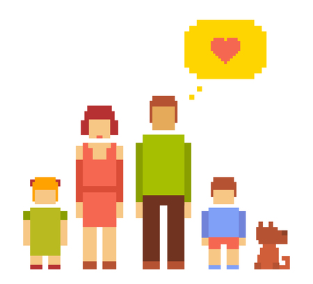 Vector colorful illustration of small girl, boy, dog, woman and man happy family couple on white background. Typical people family together concept. Retro flat 8-bit pixel art design of modern family theme.