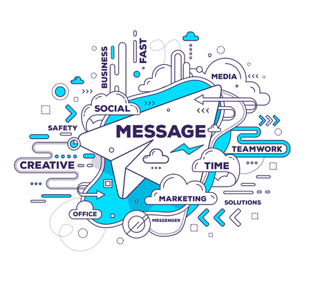 messenger: Vector creative illustration of mobile messenger with paper air plane and tag cloud on white background. Messenger mobile technology concept. Hand draw thin line art style monochrome design with paper air plane for social message and mobile messenger them
