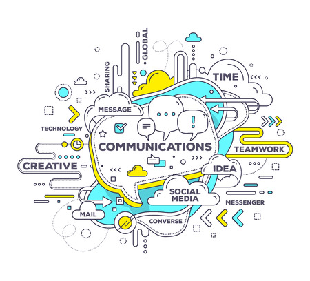 Vector creative illustration of mobile communication with speech bubble and tag cloud on white background. Mobile communication technology concept. Hand draw thin line art style monochrome design with speech bubble for mobile communication theme 일러스트