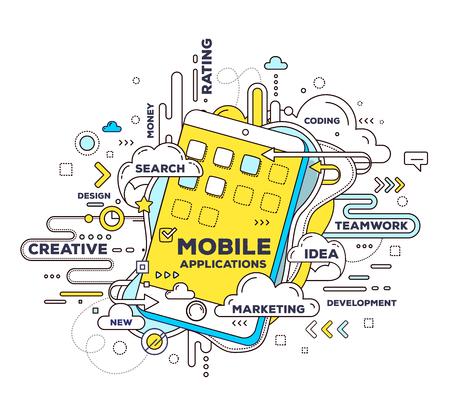 白い背景の上の携帯電話とタグの雲とモバイル アプリケーションのベクトルの創造的なイラスト。モバイル アプリケーション開発のコンセプト。手