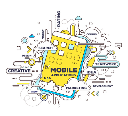 Vector creative illustration of mobile application with phone and tag cloud on white background. Mobile application development concept. Hand draw thin line art style design with phone for design and development of mobile application theme Illustration