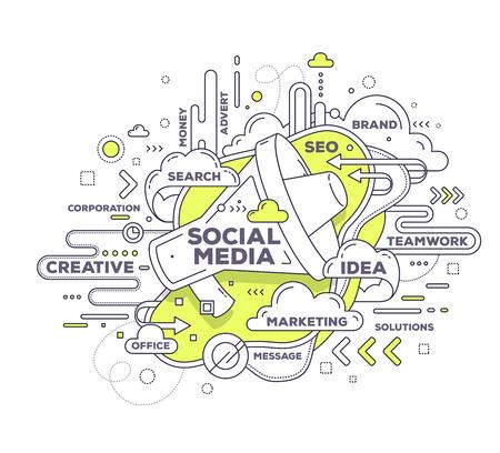 Vector creatieve illustratie van de communicatie met megafoon en tag cloud op een witte achtergrond. Social media-technologie concept. De hand trekt dunne lijn art stijl zwart-wit ontwerp met megafoon voor communicatie en sociale media thema