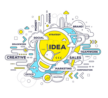 create idea: Vector creative illustration of creative idea with light bulb and tag cloud on white background. Idea technology concept. Hand draw thin line art style monochrome design with light bulb for create idea and brainstorm theme