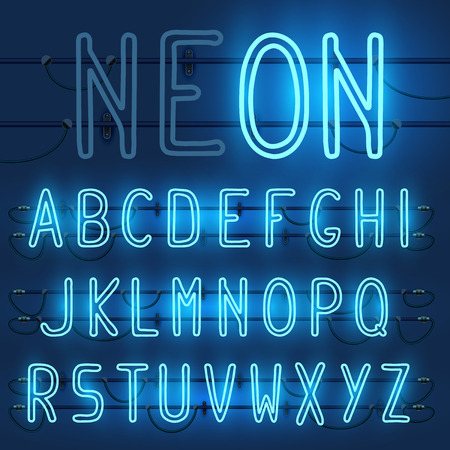 Vector set of realistic neon letters of the english alphabet with wires on blue background. Glowing neon light latin alphabet font. Type letters, neon tube letters on dark background. Lights on or off Иллюстрация