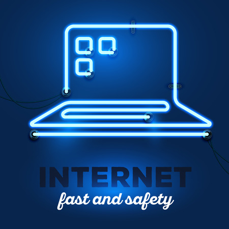 service provider: Vector illustration of realistic neon laptop with wires and text internet, fast and safety on dark blue background. Glowing neon light tube art style design for internet service provider theme
