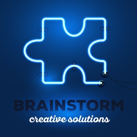art piece: Vector illustration of realistic neon piece of puzzle with wires and text brainstorm, creative solutions on dark blue background. Glowing neon light tube art style design for brainstorm theme