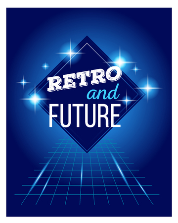 tron: Vector illustration of retro disco 80s neon with text retro and future poster made in tron style with flares, partickles on dark blue background. Glowing neon light art style design 80s retro futurism sci-fi background