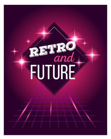 retro future: Vector illustration of retro disco 80s neon with text retro and future poster made in tron style with flares, partickles on dark red background. Glowing neon light art style design 80s retro futurism sci-fi background