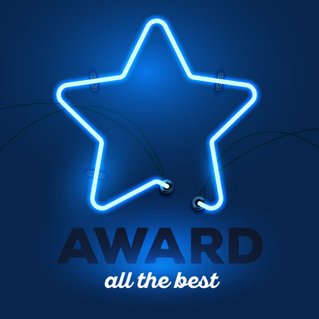 award lit: Vector illustration of realistic neon star with wires and text award all the best on dark blue background. Glowing neon light tube art style design for award theme