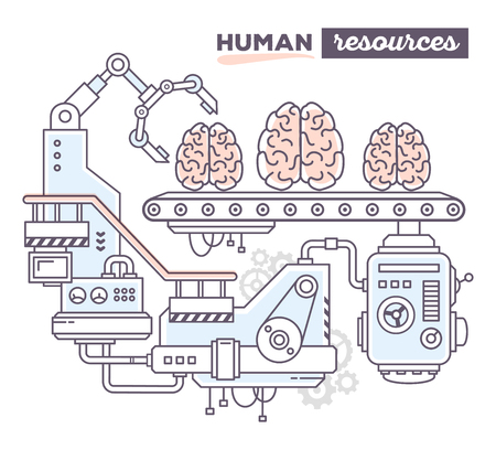 produce: Vector illustration of creative professional mechanism to produce brain on the conveyor belt with text human resources on white background. Draw flat thin line art style design for human resources, brainstorm theme